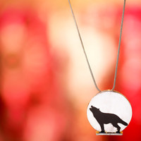 Howling Wolf moon Necklace, sterling silver, nature spiritual gift, shadow pendant, symbolic, enamel, round jewelry