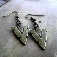 Arrowhead Earrings Antique Bronze Earrings Dangle Earrings Native American Jewelry