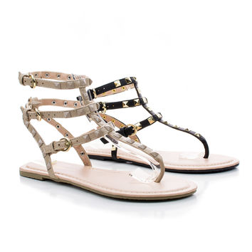 Tanaya219 Pyramid Studded Ankle Buckle Strappy Wrap Thong Sandals