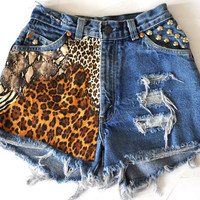 Vintage High Waisted Levi&#x27;s Leopard Print, Studded, Ripped Cut Off Denim Shorts - &quot;Angel&quot;