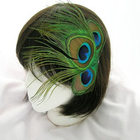 Peacock feather hair clip - Dana design - Customize your color and fastener CHOOSE headband, comb, Boutonniere, or hair clip