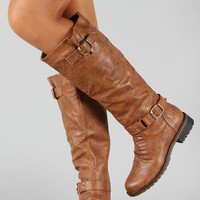 Dillian-7 Buckle Knee High Riding Boot
