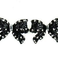 Betsey Johnson Jewelry Iconic Jet Crystal Bow Earrings New 2012