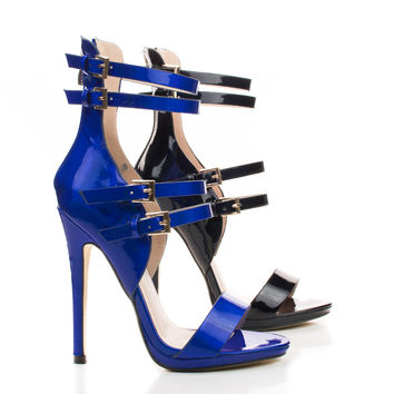 Isabella01 Open Toe Multi Buckle Strap Stiletto Heel Dress Pumps