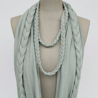 braided LOOP in light mint infinity scarf