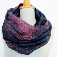 galaxy scarf - infinity loop night sky  - handdyed blueblack/magenta