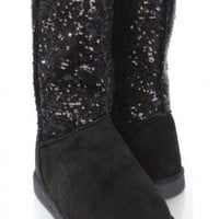 Black Faux Suede Sequins Casual Boots @ Amiclubwear Boots Catalog:women's winter boots,leather thigh high boots,black platform knee high boots,over the knee boots,Go Go boots,cowgirl boots,gladiator boots,womens dress boots,skirt boots,pink boots,fashion