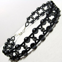 Gothic Grey Crystal & Black Pearl Bead Woven Collar