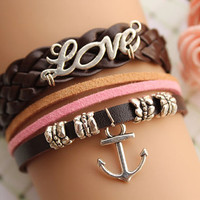 Port of love,retro silver love letters and anchor bracelet,brown braid leather bracelet,brown leather chain---B094