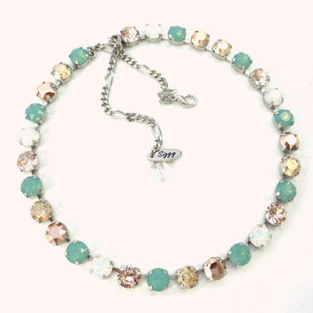 Enchanted Opals, 8mm Swarovski crystal necklace in soft white and Pacifc opals with golden accents,