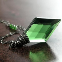 Emerald Green Necklace Green Crystal Diamond Sterling Silver Wire Wrapped Green Pendant Necklace May Birthstone