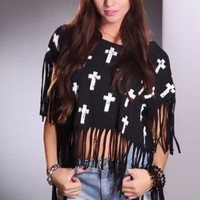 Black White Cross Design Fringe Stylish Top @ Amiclubwear Top Shirt Clothing Online Store: Dress Shirt,Sexy Womens Shirt,T Shirts,Corset Dress,White T Shirt,Girl T Shirt,Short sleeve top,Sexy Shirts,Hawaiian Shirts,Cute Tops,hawaiian aloha shirt,Tight Shi