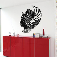 Hair Wall Decals Egypt Nefertiti Egyptian Ruler Beauty Salon Vinyl Decal Sticker Home Decor Art Mural Design Make Up Decals Cosmetics KG513