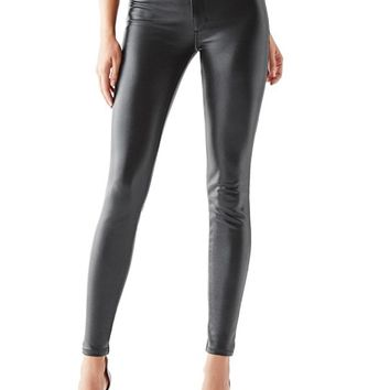 1981 High-Rise Coated Ponte-Knit Skinny Jeans | GUESS.com