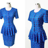 Floral Print Dress - NOS With Original Tags - Vintage 80's Dress - Blue And Red Peplum Dress