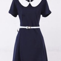 Past Due Peter Pan Collar Belted Dress in Navy Blue | Sincerely Sweet Boutique