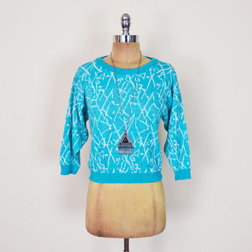 Vintage 80s Turquoise Abstract Sweater Jumper Top Abstract Print Sweater Geometric Sweater Crop Sweater Slouchy Oversize New Wave S Small