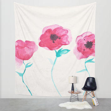 Asian Poppies Wall Tapestry by DuckyB (Brandi)