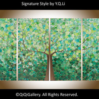 "Abstract Landscape Painting Huge Original Modern Heavy Texture Impasto Canvas Tree ""Oxygen"" by QiQiGallery"