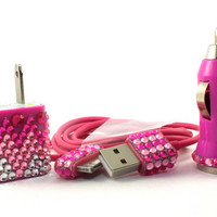Glamour Pink iphone charger set - wall & car adapter compatible with iphone 5