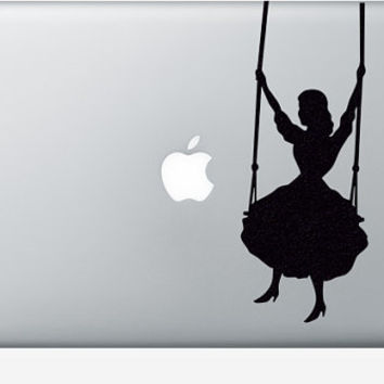 Girl In A Swing Velvet Wall Decor - Velvet Wall Decal - Victorian Style Wall Sticker