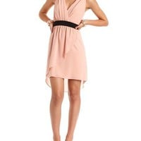 Pleated Surplice Chiffon Dress: Charlotte Russe