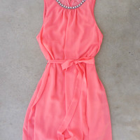 Meadow Grass Party Dress in Coral [6842] - $42.00 : Feminine, Bohemian, & Vintage Inspired Clothing at Affordable Prices, deloom