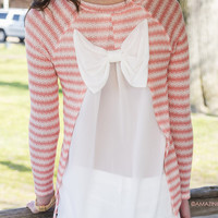 Sweet Simplicity Coral Striped Bow Back Top