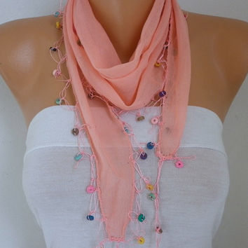 Spring Celebrations Coral Cotton Scarf Easter Wood Bead Necklace Cowl Gift Ideas For Her Women Fashion Accessories Mother's Gift