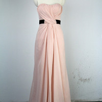 Handmade Bridesmaid Dress, A-line Sweetheart Long Chiffon Prom Dress 2012 With a Sash