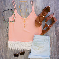 Lidia Lace Top in Peach