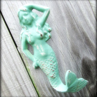 Wall Hook / Cast Iron Mermaid Refinished in Seafoam by TheDoorStop