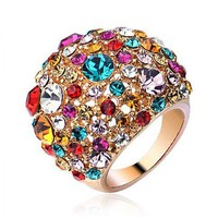 Starry Night Colorized Stones Ring by Hallomall