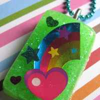 Neon Rainbow Fun Resin Necklace