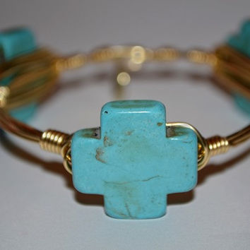 Made With Love: Turquoise Cross Bangle