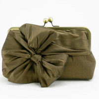 S A L E / Classic Bow Clutch : Chocolate Brown
