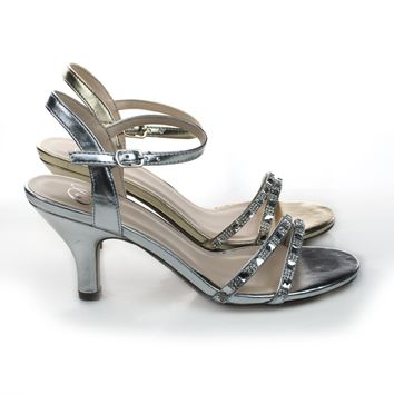Martini Rhinestone Crystal Encrusted Low Heel Dress Sandal w/ Ankle Strap