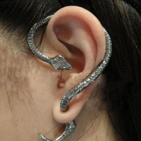 3D Snake Earring in Antique Silver (1 piece) - the85stylePeople