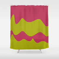 Ribbons: Fuchsia & Lime Shower Curtain by Kat Mun