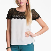 Lush Lace Yoke Top (Juniors) | Nordstrom