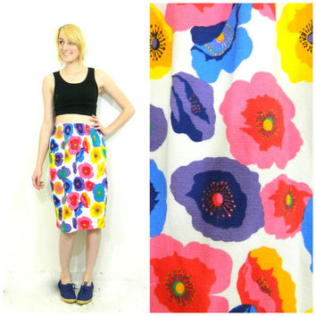 80s/90s vintage floral skirt / white abstract print / High waisted / Cotton pencil stretch elastic waist size small/medium