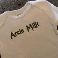 Accio Milk Bodysuit/ Onesuit. Harry Potter Inspired. Can Be Customized By Size.