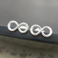Tiny Infinity Stud Earrings in Sterling Silver, Handmade, Minimalist, Everyday Wear