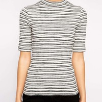 New Look 1/2 Sleeve Stripped Ribbed Turtleneck Top at asos.com