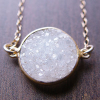 Round Vanilla Druzy Necklace 14k Gold