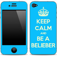 Keep Calm and Be A Belieber iPhone 4/4s Skin FREE SHIPPING