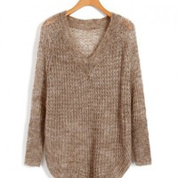 Khaki V Neckline Knitwear with Cut Out Design and Curved Hem