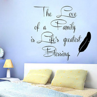 Family Wall Decals Love Quote Life's Greatest Blessing Vinyl Decal Sticker Living Room Interior Design Home Art Mural Kids Room Decor KG693