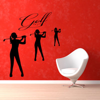 Golfer Wall Decals Sport Girls Player Quote Golf Time Vinyl Decal Sticker Home Vinyl Art Mural Girl Bedroom Kids Nursery Decor KG692