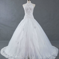A-Line  Halter  Chapel Train Satin Tulle  Lace Wedding Dresses With Lace Beadwork